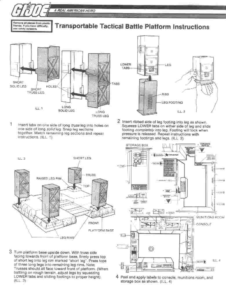 GI Joe 1985 TACTICAL BATTLE PLATFORM Long Truss Leg