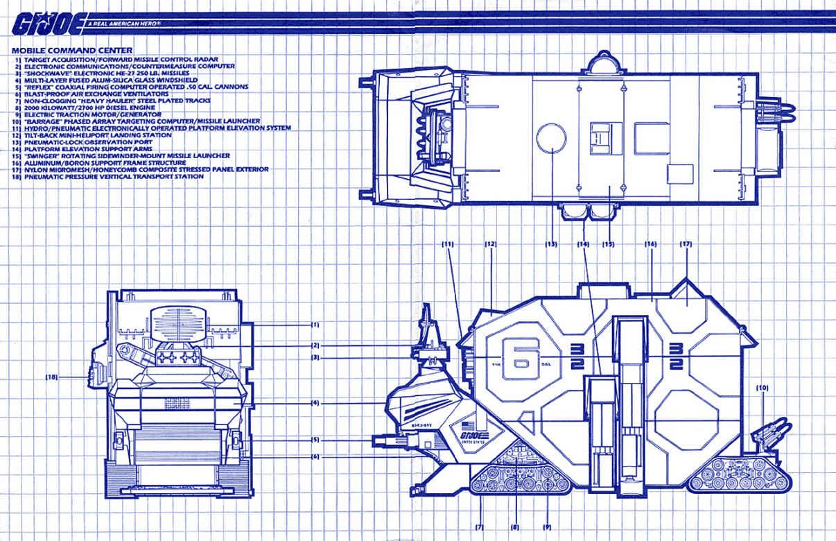 Gi Joe part MOBILE COMMAND CENTER 1987 LONG SHORT MISSILE NOZZLE RADAR MOUNT BED